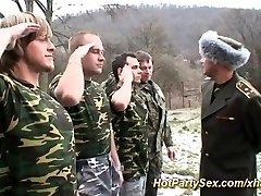 Lady gets soldiers cum