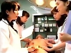 Obscene Japanese therapists putting their hands to work on a t