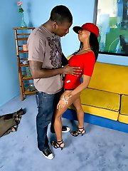 Black chick gets a big black meat up her black snatch