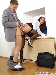 Salacious secretary giving vigorous pantyhosejob before fucking from behind