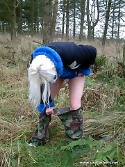 British girl peeing in the woods