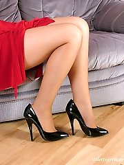 Horny Jenna loves her black high heel stilettos