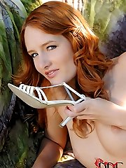Redhead In White Thigh Highs