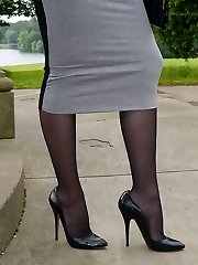 Wonderful brunette Sophia gets out the office to walk and tease outdoors in nylon tights and high stiletto high-heeled shoes