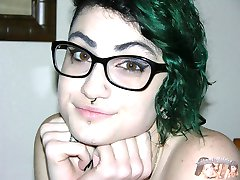 Emo Glasses Wearing Teen Models Nude, Gives Handjob And Receives A Facial
