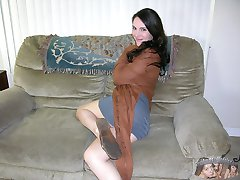 Amateur Brunette MILF Stripping Nude And Spreading Apart Her Ass