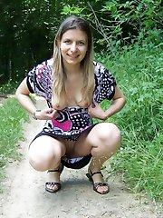 Chick flashing pussy and tits in the woods