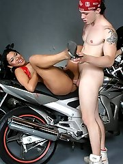 Dirty babe Ticiany gives her biker lover a nasty blowjob and got her hairy pussy slurped and fucked