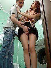 Lusty gal in control top pantyhose having fucking amusement in the bathroom