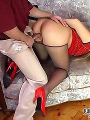Misbehaving blonde coed in grey pantyhose surrenders to suck-n-fuck lesson