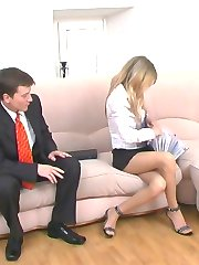 Steamy co-workers fulfilling their pantyhose fantasies right in the office