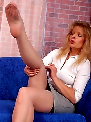 Angel in grey barfoot stockings