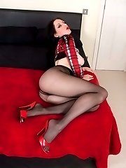 Brunette Samantha getting all the attention in black pantyhose!