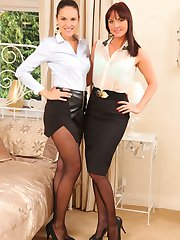 Amazing secretary duo in pantyhose