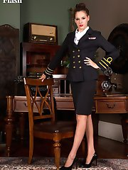 Capt. Perry will have you ship shape in no time with those long nyloned legs and pert ass!