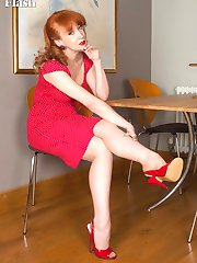 Classic warm skin tone vintage full fashion nylons and scarlet calf leather stiletto heels look SO kinky on this fabulous mature redhead.