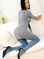 Sexy brunette Carole seductively strips from her grey dress and blue pantyhose