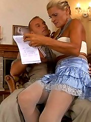 Kinky chick in white crotchless pantyhose gets stuffed by a well-hung guy