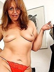 Naughty housewife getting wet by her dildo