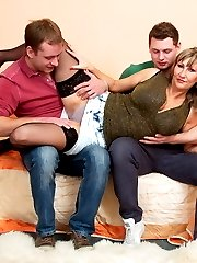 Hot big breasted housewife getting a threesome