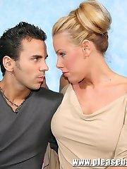 Round tit blonde wife and stranger get hubby invloved in a hot threesome