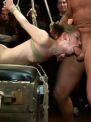 Sensi Pearl is the hot new thing in bondage porn. Tough, flexible, and sexy as hell, she is put through her paces at a live public disgrace event at the armory. Tied in compromising and strenuous bondage positions she is made to suck cock, get fucked, made to squirt, and made to get off random girls in the audience.