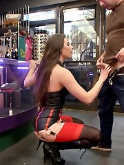 Sex Tourist Casey Calvert is looking to service the kinky city of San Francisco. First stop on her list is the local leather shop to find the sluttiest outfit. Tommy Pistol makes her submit to deep oral payment for these goods. Casey is then blindfolded and paraded down the filthy streets to a crowded bar. She is humiliated, flogged, double teamed, anally fucked and covered in cum in front of a huge crowd.