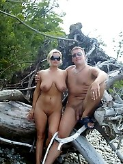 Horny nudist couples naked in public