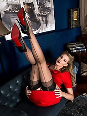 ~ Danielle looking fabulous in a smart red business dress, designer heels and sheer black full fashioned nylons.
