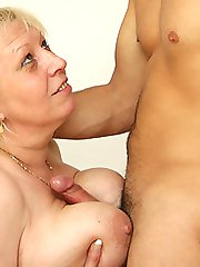 Fat granny is picked up, showers off and gets a good hardcore fucking and tit groping