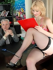 Slutty young assistant luring her graying boss into hot quickie on the desk