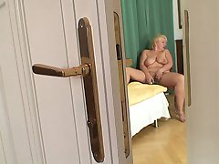 The aging chick gets fucked doggy style and rides her son in law's big throbbing dick meat