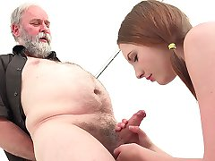 What could Tyna possibly see in this old man? Maybe she just likes to act crazy and experiment new things. Either way, we are going to have a lot of fun watching this young slut get her tight pussy pounded by an aged cock.