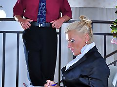 Lusty business lady seducing her younger employee into a hardcore quickie