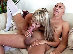 Ash-blonde rides Jimslips cock
