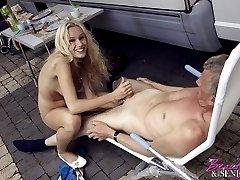 Camping blonde sucks boner