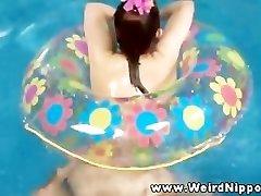 Oriental sex doll ravaged in pool by owner