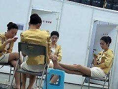 Candid Asian Hostess Nylon Soles