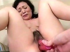 55yr elderly Granny Kayoe Ozawa Sprays and Creamed (Uncensored)