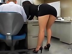 Asian office girl gets porked by two