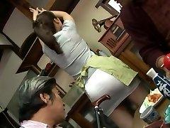 Mature fuckin' threesome with Mirei Kayama in a mini miniskirt