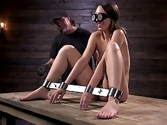 Newcomer is bound and tormented in tool bondage