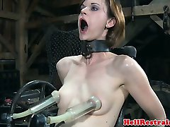 BDMS bondage sub placed on dildo machine