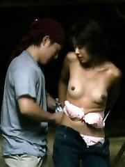 Japanese AV Model has boobies fondled by man OutdoorJp.com