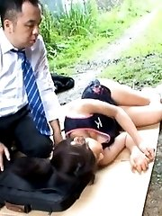 Japanese AV Model gets some help after she OutdoorJp.com