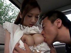 Esotici Giapponese pulcino Arisa Aizawa nella Cornea grandi tette, auto JAV clip