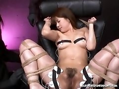 Asian girl fastened down for extreme orgasm session with hitachi magic wand