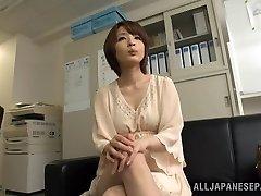 Arousing short-haired Asian model Yukina enjoys three-some
