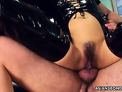 Fucking her wet bawdy cleft as she wears her PVC boots