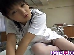 Miku Hoshino nurse sucks dildo she fucks with